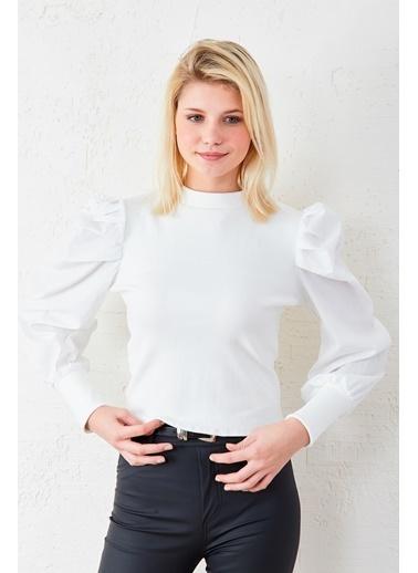 EKA Balon Kol Fitilli Bluz Beyaz